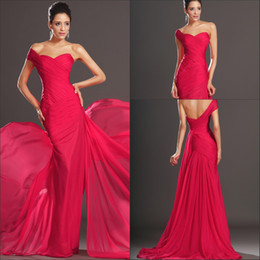 Sexy Designer Mermaid One Shoulder Evening Dresses Sweep Train Red Chiffon Formal Evening Gowns Puffy Cheap Prom Dresses Free Shipping