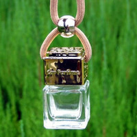 Golden/Silver Lids + Clear Bottle car perfume bottle - 8ml Fashion MINI Square Essential Oil Bottle Car Perfume Vials Interior Decoration DC630