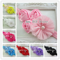 Chiffon baby triple - 60pcs baby headbands with quot Chiffon Shabby Flowers amp Triple rose flowers elastic headbands for baby Baby hair band roses headbandFD009
