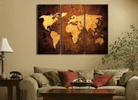 Abstract Yes No handpainted 3 piece modern abstract decorative world map pictures oil painting on canvas wall art for living room free shipping