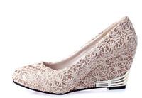 Wholesale Cheap Wedges Dress Shoes For Women Beige Black Color prs H3
