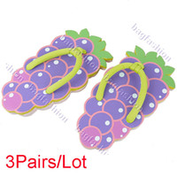 Wholesale 3Pairs New Women summer slippers Cute Fruit Pattern Flip flops Slippers Sandals Shoes styles Abic