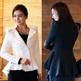 Wholesale Women White Black Casual Suit One Button Blazer Jacket Swallowtail Style WWX019 Abib