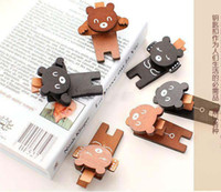 Wholesale Hot Sale New Children s stationery Y39 zakka bear family series wooden paper clip message clip wooden clip