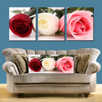 Cheap Free shipping 3 piece flower rose Huge Modern Canvas Painting Picture Decorative Living Room Paint Pure hand-painted Wall Hangin