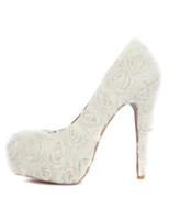 Wholesale Grace White Floral Cloth Women s High Heels r64 u14 ZhY