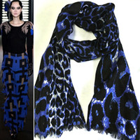 Wholesale Y big leopard print fashion female pure wool cashmere bruge star scarf large cape