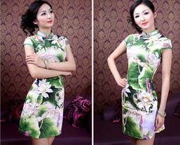 Wholesale Elegant Lotus painting sex Women slim Chinese cheongsam wedding evening dresses middle length daily wear improved cheongsam