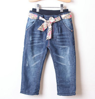 Children's Jeans Plus Thick Velvet Warm Pants Floral Belt Ch...