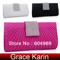 Wholesale Satin Rhinestones Evening Bag Bridal Clutch bags Wedding Party Black Silver White Violet Red GZ485