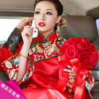 Wholesale Show bride dress clothes pratensis dragon gown kimono the bride wedding dress evening dress chinese style