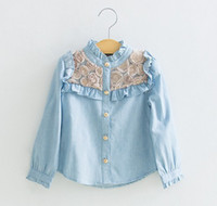 Children's Shirts Flowers Denim Shirts autumn style Children...