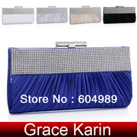 Wholesale Grace Karin Bridesmaid clutch Bags Rhinestone Evening Bag Party Day Clutch Wedding bag Silver White Black Blue Khaki GZ476