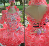Girl cupcake pageant dresses girls - 2014 New Pink Little Girls Pageant Dress Crystals Handmade Flower Cupcake Dresses Halter Multilayer Skirt