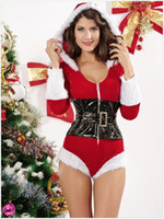 Wholesale Fashion Women Christmas Sexy Theme Costumes Lovely Style Red Leotard With A Corset V Neck Sex Lingerie