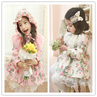 Children's winter Dresses Printed Hooded Dresses Children's ...
