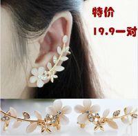 Ear Cuff Bohemian Gift Fashion opal rhinestone flower ear clip earrings sweet joker earring jewelry free shipping Have needle and No needles LM-C166