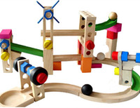 wooden coaster - Wooden puzzle intelligence early education a roller coaster track blocks blocks car ball orbit