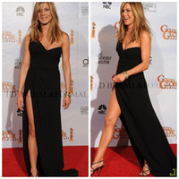 Wholesale Jennifer Aniston Sexy Black One Shoulder High Slit Red Carpet Evening Dress Golden Globe Awards Celebrity Dresses