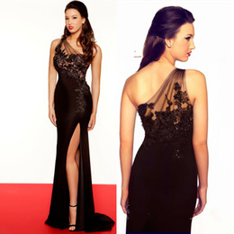 Wholesale 2014 Fascinating Black Appliqued And Beaded Decorated Evening Gowns Sheer One Shoulder Sheath Side Slit Floor Length Chiffon Prom Dresses