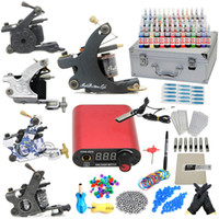 Wholesale Professional Complete Tattoo Kit Machine Gun Color Inks LCD Power Supply USA warehouse GBL WS K003B