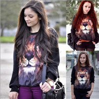 Wholesale Europe hot women s autumn clothing D lion design personality fleece hoodie pullovers t5767