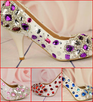 Wholesale 4 Colors High Heel Wedding Shoes Genuine Leather cm Height Shoe Prom Shoes Diamond Crystals Ball Party Pumps Bling Bling Dress Shoes