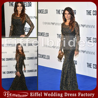 Wholesale Penelope Cruz Celebrity Dress Jewel Neckline Long Sleeve Bandage Bodycon Black Lace Celebrity Evening Dress
