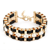 Wholesale Womens Mens Rhinestone Cuff Bracelet Bangle Handmade Chains Wrap Bangles Bracelets Jewelry
