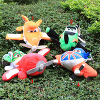 Wholesale 4colors plush Plane Model Toys With Small Wheels Helicopter Bus Best Gifts For Kids