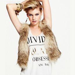 Desconto women s faux fur vest New Outono / Faux Fur Vest V Neck mangas gancho moda feminina inverno Fecho Cetim Forro pêlo curto Outwear Colete