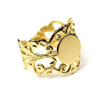 adjustable ring blanks gold - 100pcs Gold Plated Fancy Filigree Bases mm Pad Adjustable Ring Blanks