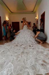 Long Train Wedding Dresses , Beaded Ruffled Crisscross at Back