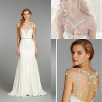 Wholesale Hayley Paige Wedding Dresse White Beads Straps A Line Floor Length Emmy Awards Wedding Dress Lookalikes Celebrity Bridal Dress
