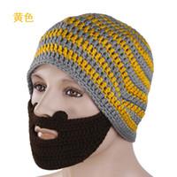 Wholesale Chrismas Promotion funny acrylic handmade orange and gery striped beard knitted hat skullies ski hat
