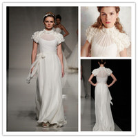 Wholesale 2014 New Arrivals Elegant Illusion High Neck Short Tiered Sleeves Chiffon Mia Mia Wedding Dresses Sheer Back Bridal Wedding Gowns B