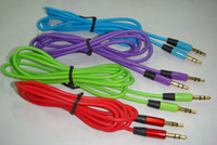 Wholesale 3 mm audio cable cord Car Aux Extension Cable cm for mp3 for phonecolorful in stock free ship