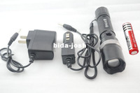 Wholesale 7w CREE Q5 Zoomable LED Flashlight Lm Rechargeable Torch Battery Direct Charger Car Charger