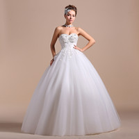 Wholesale Pnina tornai Wedding Dresses Sweetheart Empire Ball Gown White Grid Yarn Tulle Lace up Backless Appliques Crystal Floor Lengt