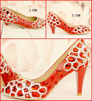 Wholesale 3 Kinds of Heels Orange Prom Dresses Shoes Rhinestones Beaded Wedding Shoes cm cm cm Women s Shoes Genuine Leather Dress Shoe