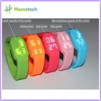 Wholesale 2G G G G G usb flash drive multifunctional silicon bracelet LED watch USB with Tf card slot drop shipping