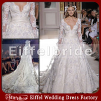Wholesale Luxury Zuhair Murad Wedding Dresses with Long Sleeves Hot Sales V neck A Line Detachable Train White Lace Beaded Wedding Gowns