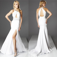 Wholesale High Quality White Trumpet Pageant Dress Featured Halter Neckline Chiffon Sexy Prom Dress Party Dress