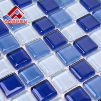 Wholesale Blue glass mosaic swimming pool tile sand