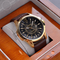 Wholesale Luxury Mens Women Brown Tachymeter Date Leather Sport Quartz Wrist Watch Fashion Swiss Design
