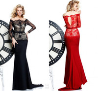 Wholesale Black and red lace bateau long sleeves evening dresses sweep train mermaid chiffon prom gowns
