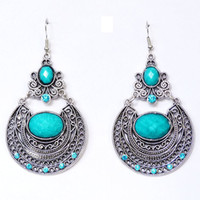 Wholesale Min order is mix order Bohemian Style Hollow Carved palace retro earrings ear hook charm gift Fashion Jewelry YES046