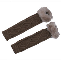 Wholesale Women Wrist Arm Gloves Long Winter Cotton Gantlet Khaki Plush Knit Mitten DMF5