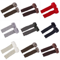 Wholesale Lady Girl Knitted Cotton Long Arm Fingerless Gloves Warm Imitation Rabbit Hair Winter Long Knitted Gloves Arm Mittens DMF