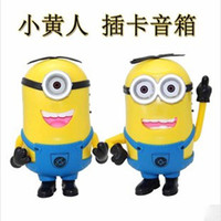 Wholesale New Cute Minions Portable Despicable Me Mini HIFI Loud Speaker MP3 Player Amplifier Micro SD TF Card USB Disk Computer Minions Speakers